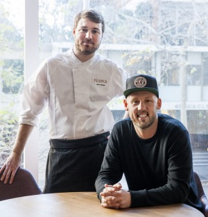 Chef Alexis Besseau (left) and owner Andrew Becher at new Potts Point brasserie Franca.