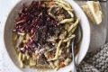 Duck, verjuice and celeriac ragout served with strozzapreti pasta and radicchio.