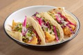 Fried cod tacos with coriander slaw and spicy lime aioli at St Kilda cafe, Des Moines, Iowa.