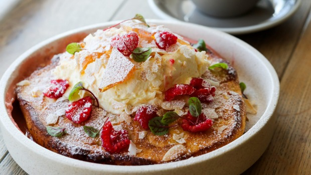 Instagram-friendly hotcake with sour cherry curd, raspberries and coconut.
