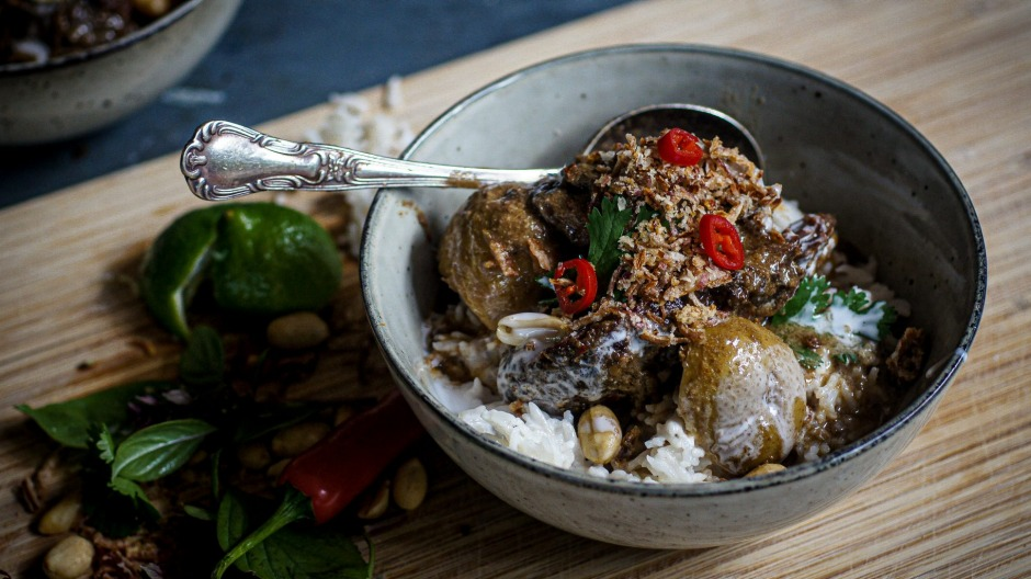 Slow-cooked beef cheeks wallowing inmassaman curry.