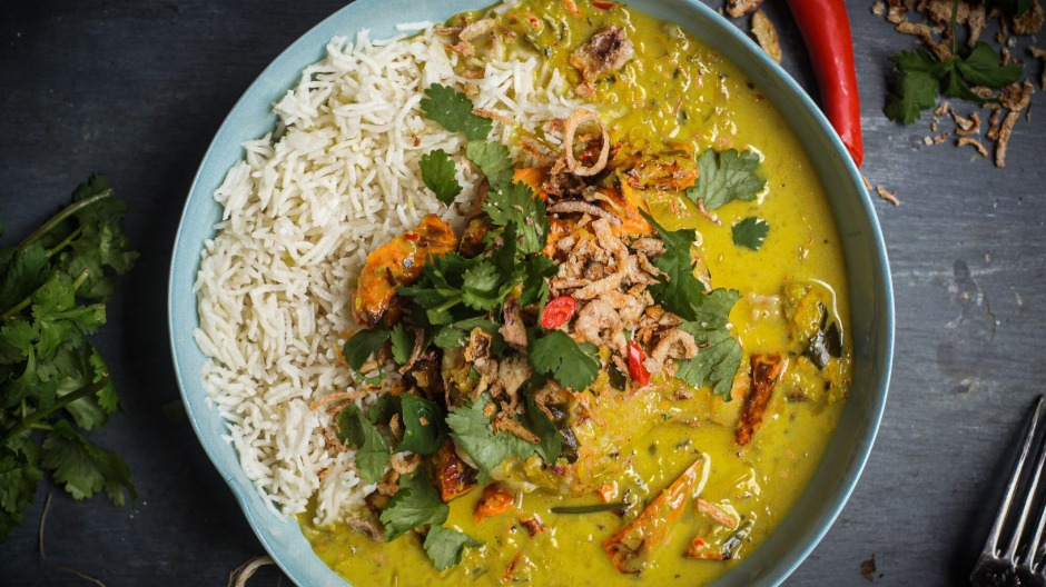 Lemongrass and turmeric chicken curry with roasted sweet potato