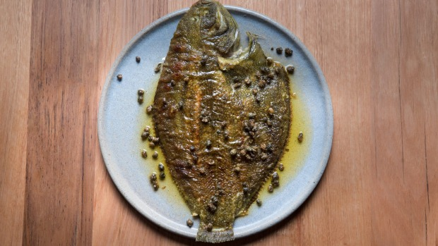 Flounder with brown butter, lemon and capers.