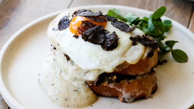 Wild mushroom toastie with truffle cheese, truffles and fried egg.