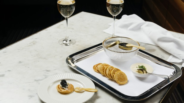 Caviar service at R Bar at Crown.