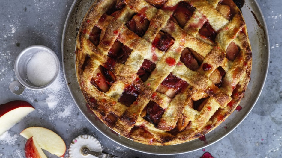 This recipe makes enough pastry for Dan Lepard's apple and rhubarb lattice-topped pie.