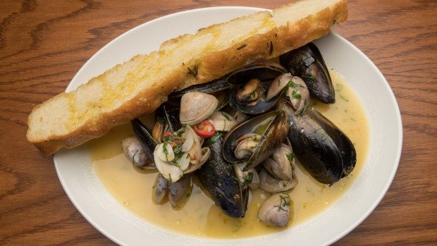 Mussels and clams with house-baked focaccia.