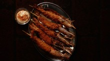 Charcoal grilled prawn skewers at Mono-XO.