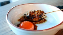 On the menu: Tsukune, egg yolk ($6).