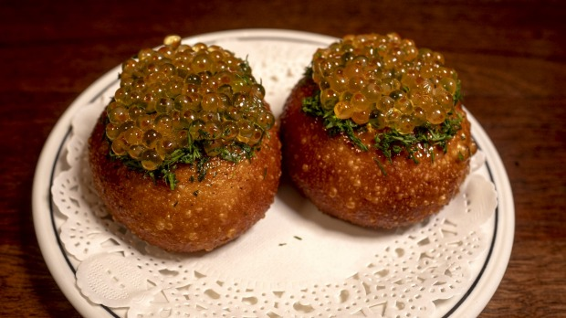 Fried tarama buns topped with Yarra Valley trout roe.