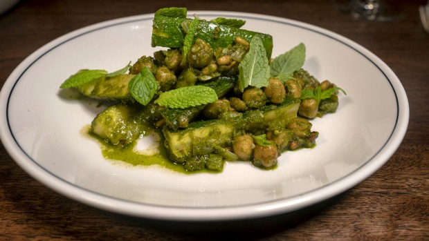 Bright-as-a-button zucchini, chickpeas and zhug.