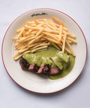 Entrecote's signature dish:  Steak frites.