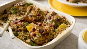 Family dinner: Substitute the chicken for quail if you prefer.
