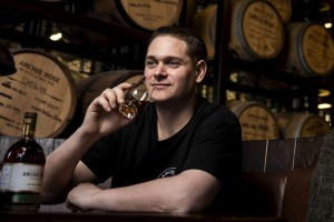 Chief distiller Dave Withers tries his new rye malt whisky.