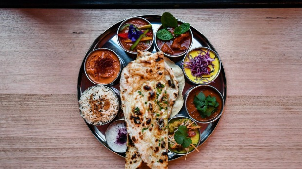 Thali tray of curries, -Daughter-in-law- Jessi Singh opens his first Melbourne restaurant since 2017. 31st July 2019 The ...