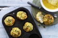 These cheesy potato  muffins are great with soup.