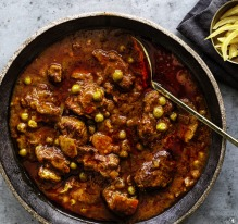 Braised lamb, peas and dried lime.