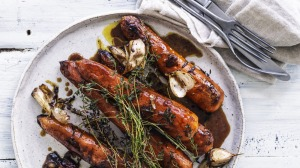 Whole roasted carrots with garlic, thyme and golden syrup.
