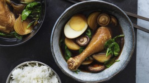 Master stock-braised drumsticks, potatoes, eggs and warrigal greens (or spinach).