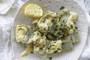 Neil Perry's artichokes with hollandaise