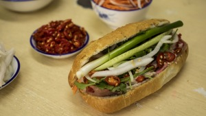Pork banh mi roll served at Banh Mi Bay Ngo in Bankstown.
