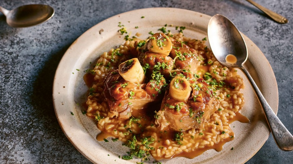 Ossobuco with risotto Milanese.