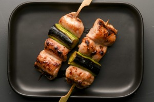 Classic chicken thigh and leek skewers.