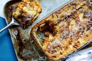 Slow-cooked bolognese lasagne.