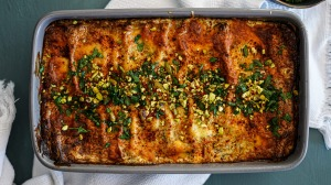 Strained yoghurt (labna), zaatar and aleppo pepper add a Middle Eastern twist to vegetarian lasagne.