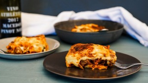 Lasagne with slow-cooked sausage ragu.