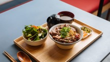 Pick and mix from 20 varieties of Japanese donburi (rice bowl dish).