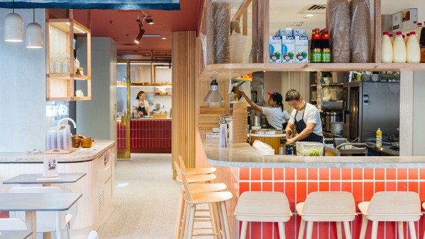 The 70-seat eatery is all pastels, banquettes and timber.
