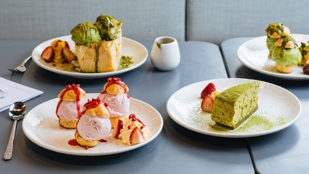 Matcha and strawberry flavoured treats at DOPA.