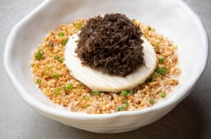 Seasonal chawanmushi (this version is capped with shaved truffles).