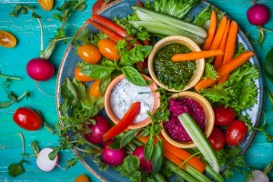 Watch those cravings for sugary, starchy snacks and load up on veg and dip instead.