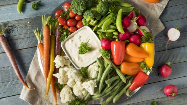 For vegetarian guests, serve a colourful array of raw vegetables with a dip.