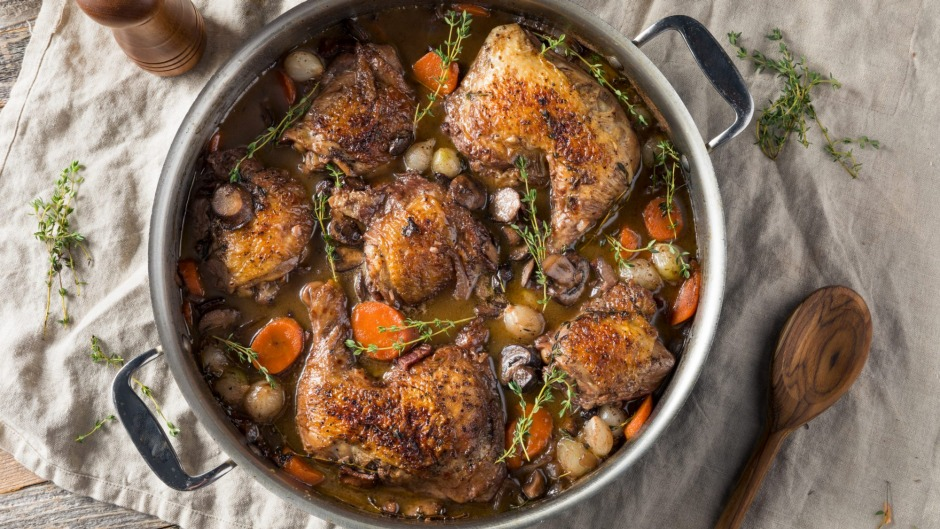 Put your wine to good use: Homemade coq au vin.