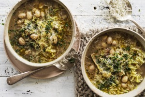 Hearty winter vegetable soup with borlotti beans and porcini mushrooms.