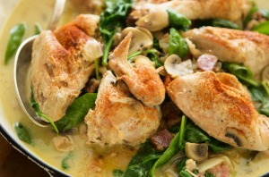 Flash in the pan: Chicken with mustard cream sauce.