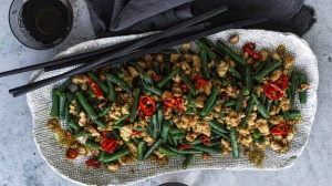 Wok-fried mince and green beans.