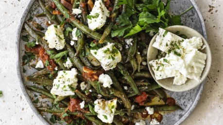 Greek Green Beans With Tomato Onion And Feta Recipe Good Food