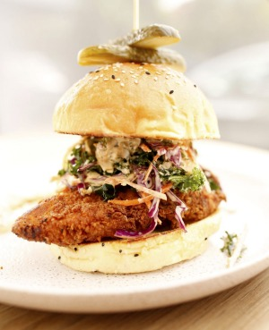 Drool-worthy dude food: the fried chicken burger.