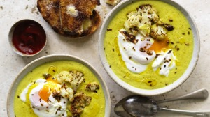 Roasted cauliflower and turmeric soup with yoghurt and poached egg.