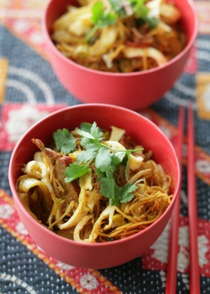 Singapore noodles with Chinese barbecue pork.