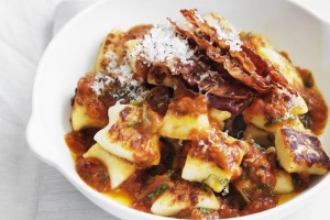 Neil Perry's pan-fried gnocchi with roast tomato sauce.