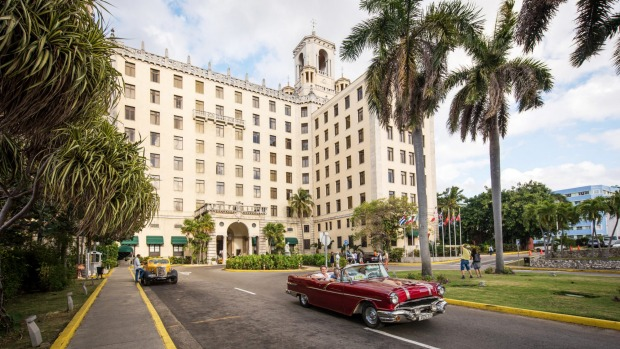 Havana is a sensory feast of grand colonial buildings, such as the Hotel Nacional, and colourful 1950s cars.