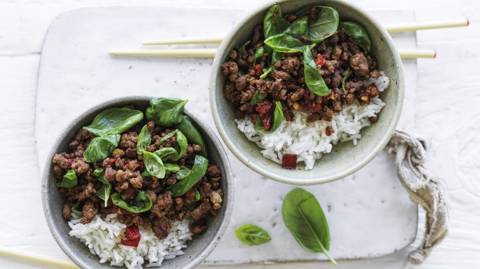 Thai-style stir-fried beef with basil.