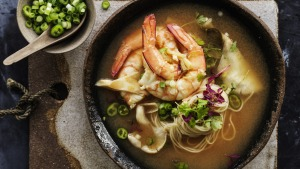 Neil Perry's sour and spicy prawn soup with noodles