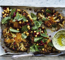 Jill Dupleix's cauliflower steaks with harissa and honey.