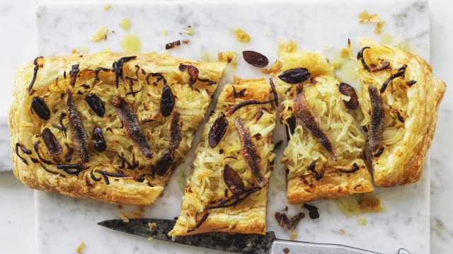 Pissaladiere (anchovy and olive tart).